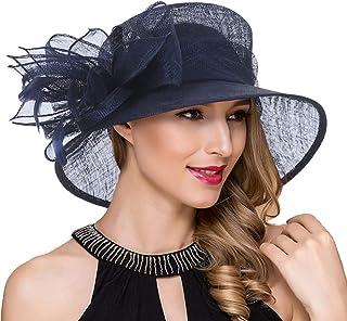 87d3bc2b4a9eb Ruphedy Women Sinamay Church Derby Dress Wedding Bucket Hats Lightweight Tea  Party Cloche Hat SM126
