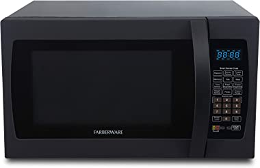 Farberware Professional FMO13AHTBKF 1.3 Cu. Ft. 1100-Watt Microwave Oven with Smart Sensor Cooking, ECO Mode and Blue LED Lig