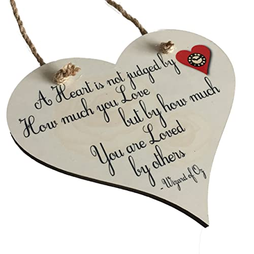 The Supreme Gift Company Wizard of Oz Heart Quote Wooden Hanging Plaque