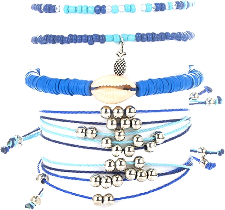 Bracelet for Women,5Pcs/Set Boho Women Shell Pineapple Charm Beaded Bangle Bracelet Jewelry Gift