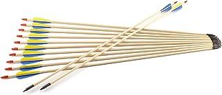 Hamimelon 12pcs Flechas de Madera para Tiro con Arco Recurvo Longbow para Práctica Puntería de Tiro Punta de Acero Asta de Madera, Hecho de Mano