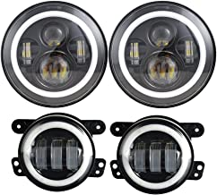 Dot Approved 7inch Jeep LED Headlights with White DRL/Amber Turn Signal + 4 inch LED Fog Lights with White DRL Halo Ring for Jeep Wrangler 97-2017 JK LJ Tj