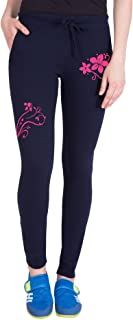 American-Elm Both Front Side Pink Flower Printed Track Jogger for Women