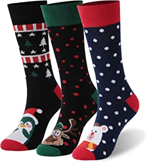 Christmas Holiday Cotton Socks, CLANDY Unisex Colorful Printed Gift Crew Dress Casual Socks