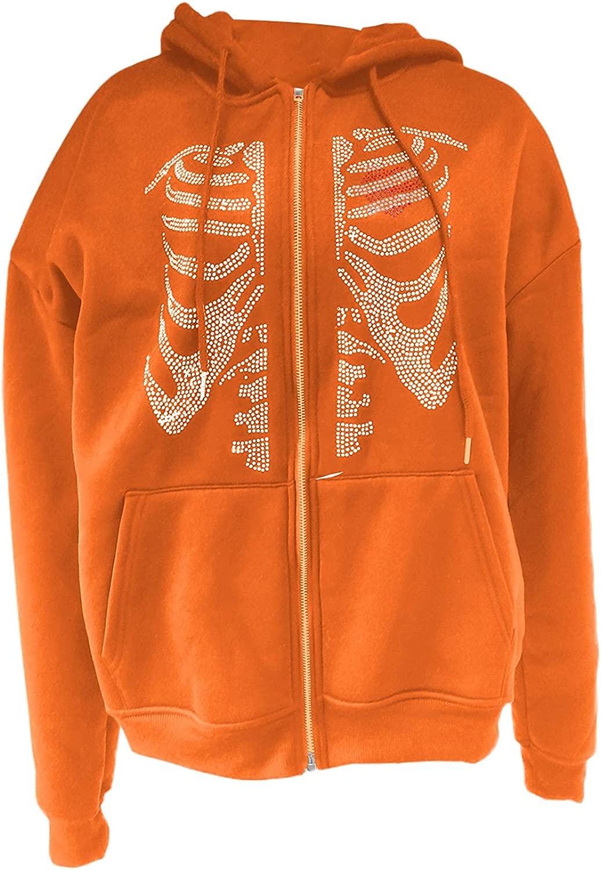 Oversized Zip Up Hoodies for Women Fairy Grunge Clothes Gothic Skull Graphic Vintage Jacket Halloween Sweatshirt