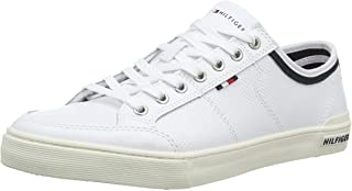 TOMMY HILFIGER Men's Perforated Leather Trainers, White