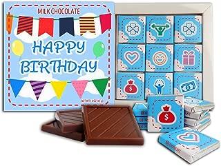 DA CHOCOLATE Happy Birthday Milk Chocolate gift set 5x5 box 2.82 Oz (Blue Prime)(0331)
