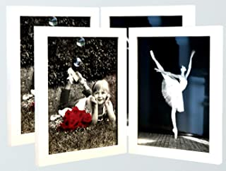 (2-Pack) 4x6 White Folding Photo Frames with HIGH Definition Glass - Displays Two 4