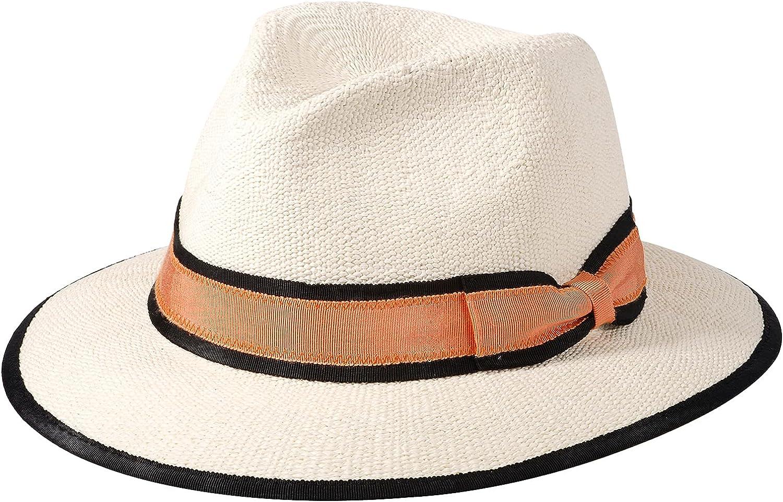 Straw Fedora Hat for Women & Men Panama Sun Hats Summer Beach Floppy Caps (Orange, Medium)