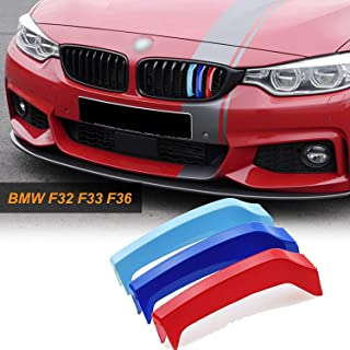 1 set M-Colored Kidney Grille Insert Trim TRI Color M Sport Strips Grill Beam for BMW 4 Series F32 F33 F36 (9-beam Black curved Grill)