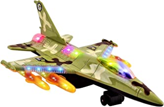 Voko USA Toy Army Air Fighter F16 Jet Battery Operated Kid's Bump and Go Toy Plane w/ Flashing Lights, Sounds, Bumps Into Something and Will Change Direction (Green)