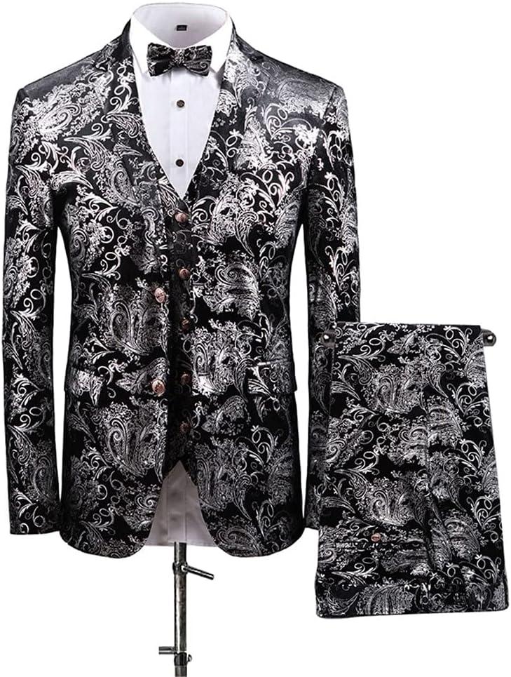 SLATIOM Men's Jacquard suit Pant Designs Slim Fit 3 Piece Tuxedo Groom Style Suits (Color : Multicolor, Size : 3XL 74-80kg)