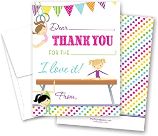 20 Olympic Gymnastics Girl Kids Fill-in Birthday Thank You Cards