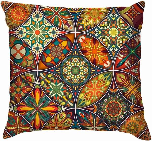 X Large Decorative Mandalas Vintage Mandala Cotton Linen Home Decorative Throw Pillow Case Cushion Cover For Sofa Couch 22X22 Inch