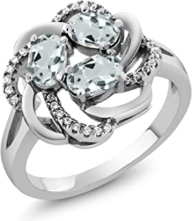Gem Stone King Sterling Silver Sky Blue Aquamarine Gemstone Birthstone Women's Ring 1.66 cttw (Available 5,6,7,8,9)