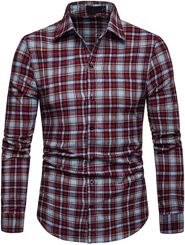 MODOQO Men's Long Sleeve Button Down Shirts Casual Plaid Top Shirts