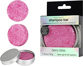 BODY & EARTH Solid Shampoo Bar, Hair Soap Conditioner with Travel Tin Containers - Enriched with Natural Essential Oils Benefit for Dry, Oily and Damaged Hair, Berry Scent, 1.76 Oz