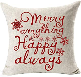 Winter Greetings Beautiful Snowflake Warm Sayings Red Merry Everything And Happy Always Merry Christmas Gifts Cotton Linen...