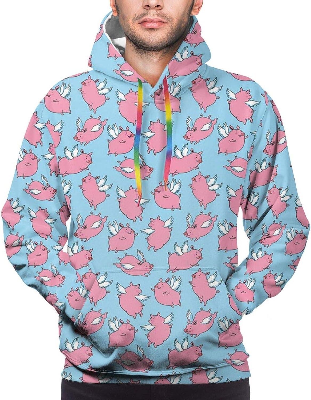 TENJONE Men's Hoodies Sweatshirts,Repetitive Cute Cartoon Flying Piglets Wings Pattern