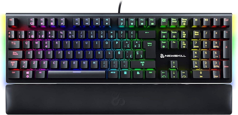 Newskill Serike Switch Red - Teclado Mecánico Gaming con Reposamuñecas Plegable Incluido (Teclas con grabación Macro, 20 Modos de iluminación RGB) - ...