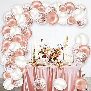 Rorchio Arche Ballon Rose Gold, Arche Ballon Or Rose Blanche Anniversaire Fille, Kit Guirlande Ballon, Décoration pour mar...