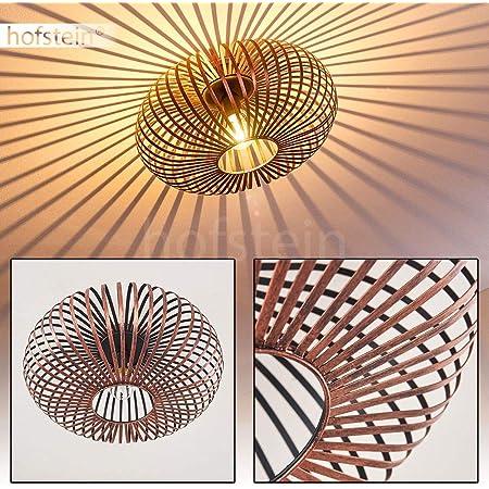 Plafonnier Ovari en métal cuivré, luminaire design rond pour 1 x E27, max 60 Watt, compatible ampoules LED