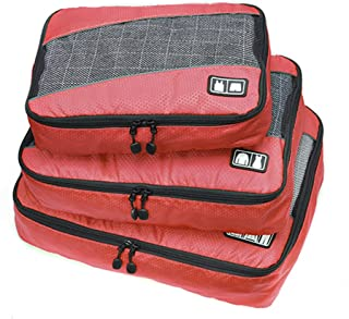 Belsmi 3 Set Durable Packing Cubes Set - Waterproof Compression Mesh Travel Luggage Packing Organizer (Solid Red)