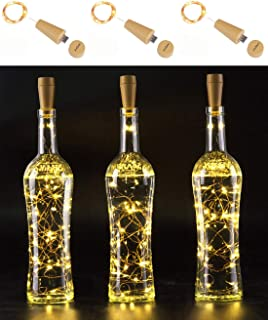 AnSaw Rechargeable Wine Bottle String Lights 3 Pack USB Powered 20LED Bottle Cork Lights Starry Fairy Home Twinkle Cork Shape Decor Lights for Party, Christmas, Halloween,Wedding (Warm White)