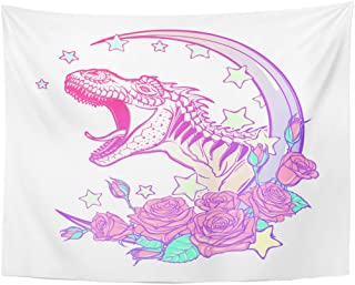 dd773a3d7 Emvency Tapestry Detailed Sketch Drawing of The Roaring Tyrannosaurus Rex  on Kawaii Moon and Roses Tattoo