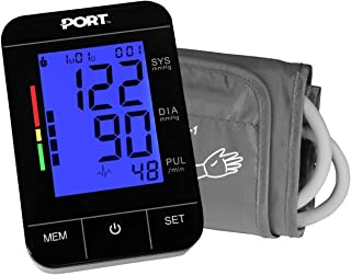 Digital Blood Pressure Monitor by P OR T: Backlit LCD Large Display, Adjustable Cuff, Automatic and Easy to Use, Battery Operated and Portabl e, Memory Function for 2 Users, with Heartbeat Monitor