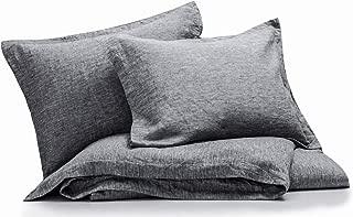 meadow park Linen Cotton Duvet Cover Set 3 Pieces, Vintage Garment Washed, Super Soft, Flange Style, King Size, Grey Color
