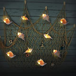 WSgift LED String Lights with Timer, Ocean Conch Beach Themed Battery-Powered 10 LEDs for Indoor, Outdoor, Home Decoration