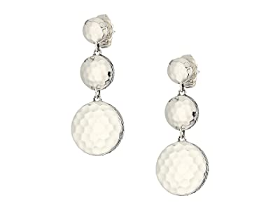 John Hardy Dot Hammered Triple Drop Linear Earrings (Silver) Earring