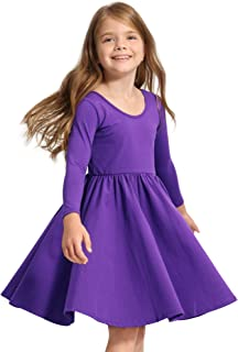 STELLE Toddler/Girls Long Sleeve Casual A-Line Twirly Skater Dress for School Party