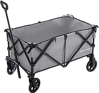 SONGMICS Folding wagon, Aluminium , Capacity 150 kg, Portable Garden Cart with 4 Wheels and Steel Brakes, TÜV Rheinland Te...