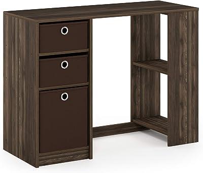 Furinno JAYA Moderner Computerschreibtisch mit 3 Einschüben, Holz, Columbia Walnut/Dunkelbraun, 74.4 x 100 x 39.98 cm