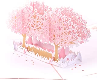 Handmade 3D Pop Up Cards - Pink Garden Handmade Pop Up Greeting Card for Your Loved Ones, Wedding Anniversary Card for Couple, Valentine Day, Happy Birthday Cards