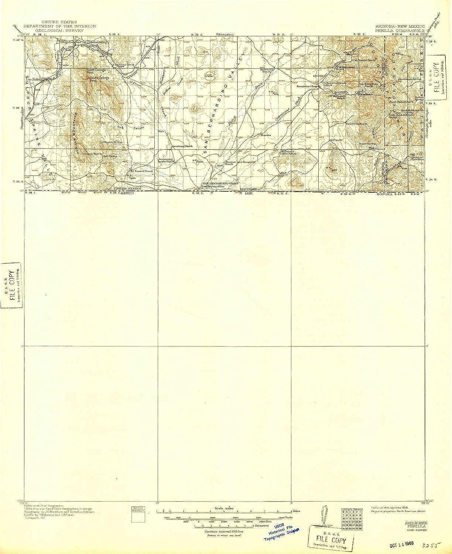 Topo Map Of Arizona.Perilla Az Topo Map 1 125000 Scale X 30 Minute Historical 1919