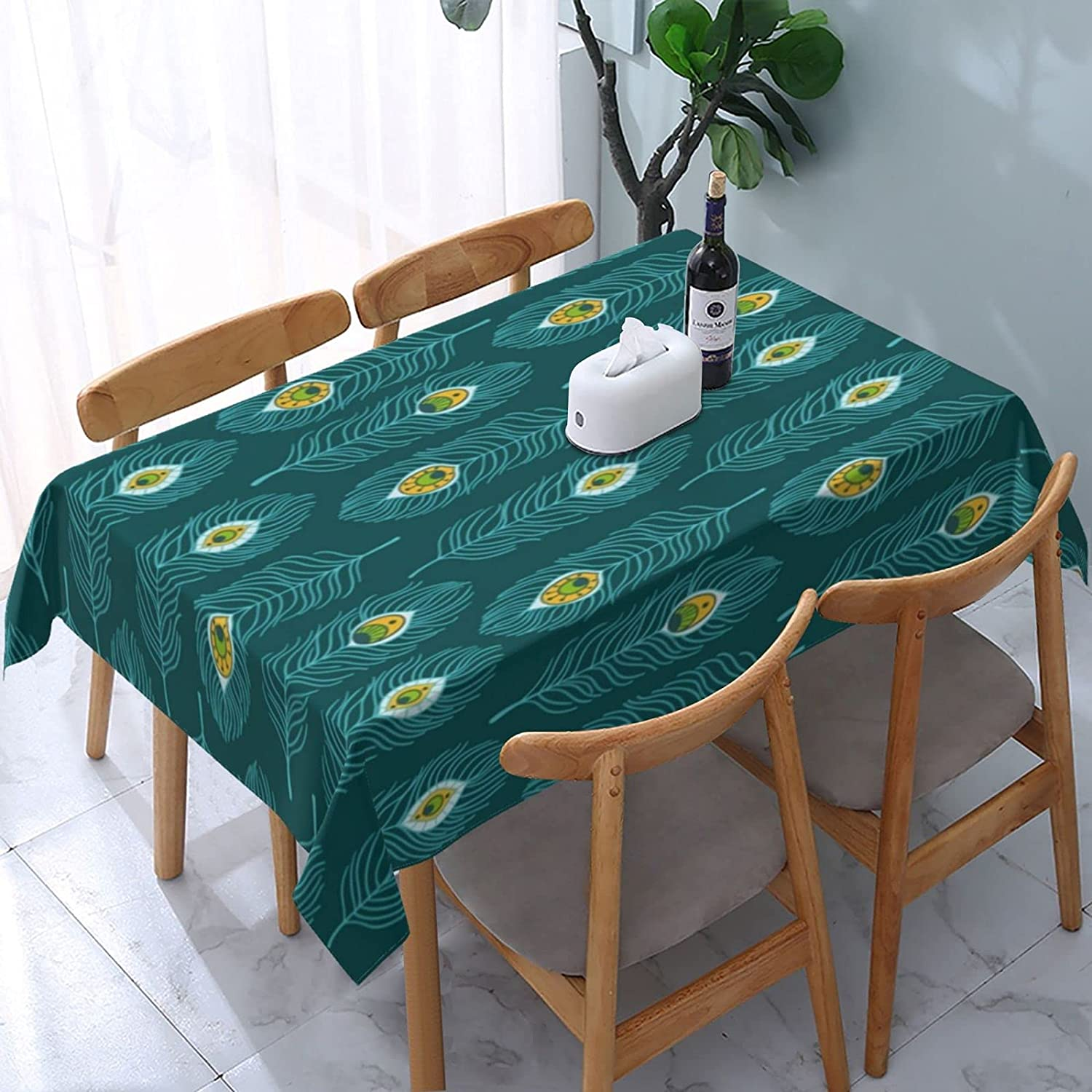 Nashville-Davidson Mall Peacock Feather Rectangle Tablecloth Washable with 55% OFF Cover D Table