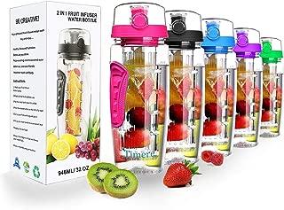 Fruit Infuser Water Bottle - 32 oz BPA-Free Fruit Infusion Sports Bottle Flip Top Lid w Drinking Spout, Leak Proof, Made of Durable Tritan