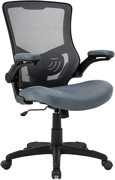 Office Chair Desk Chair Computer Chair With Lumbar Support Flip Up Arms Modern Task Adjustable Swivel Rolling Executive Mesh Ergonomic Chair For Back Pain Grey