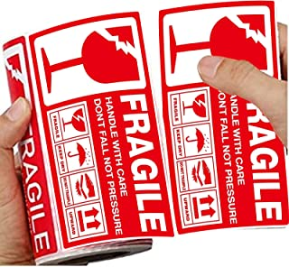 2.75 x 5 inches (7 cm x 13 cm), with Fragile Warning Labels in red Font, Permanent Adhesive, 250 Shipping and Moving Label...