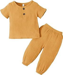 طقم ملابس أطفال بنات من زيكسكسي مكون من قطعتين من القطن بنسبة 98% للأطفال والأطفال الصغار