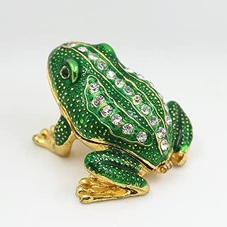 Cute Frog Jewelled Trinket Box Jewelry Box with Inlaid Crystal, Pill Box Figurine