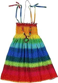 SANGTREE Children Girls Rainbow Spaghetti Strap Beach Sundress Hawaiian Sun Dress, Rainbow, 8-9 Years = Tag 150