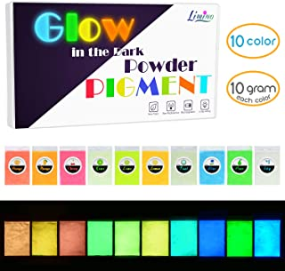 Glow in The Dark Pigment Powder - Epoxy Resin Color Pigment Dyes for DIY Slime Coloring Kit - Luminous Skin Safe Long Lasting Self Glowing for Acrylic Paint, Nail Art, Painting, Crafts - 0.4oz Each