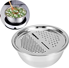 Kitchen Grater Bowl, Stainless Steel Kitchen Colanders Rice Washing Strainer Multi‑Function 2000ML for Home Kitchen