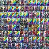 KUTO Juego de Cartas de Pokemon de 100 Piezas, Juego de Cartas de Pokemon, Cartas de Juego de Dibujos Animados, Tarjetas de Comercio Gx con 95 Tarjetas de Pokemon Gx Y 5 Tarjetas de Mega Pokemon