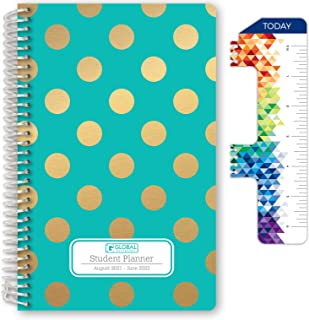 """HARDCOVER Dated Middle School or High School Student Planner for Academic Year 2021-2022 (Block Style - 5.5""""x8.5"""" - Turqui..."""