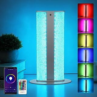 Oraymin Lampe de table LED à intensité variable, 3000 K WiFi Cristal RGB Couleur changeante avec télécommande pour le salo...
